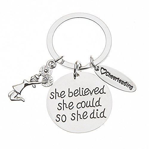 Sportybella Cheer Keychain- Girls Cheerleading She Believed She Could So She Did Key Chain, Cheerleader Charm Keychain, Cheer Jewelry for Cheerleaders & Cheer Coaches]()