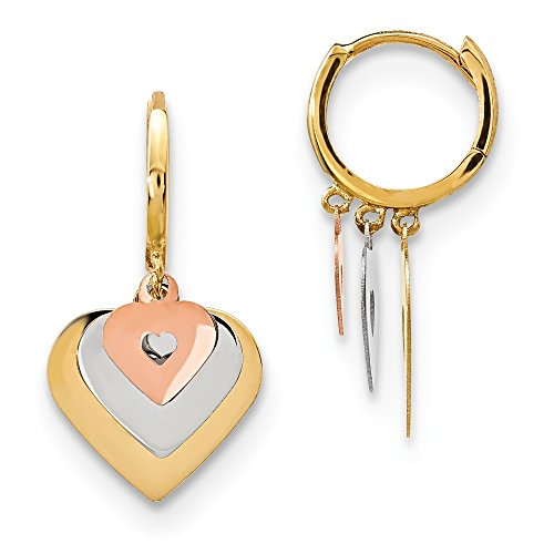 14k Tri Color Yellow White Gold Hinged Hoop Heart Drop Dangle Chandelier Earrings Love Fine Jewelry Gifts For Women For Her ()
