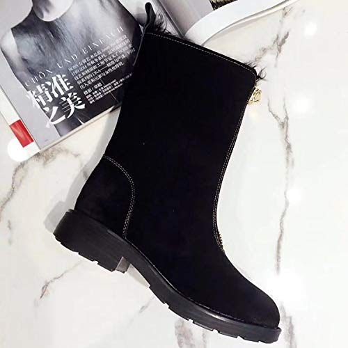 Black black Cuir Fad Neige Bottes Bottes Fourrure De Laine Martin Lapin 39 Chaude Une Avant Zip D'hiver j D'épaisseur 44qwHaxUO