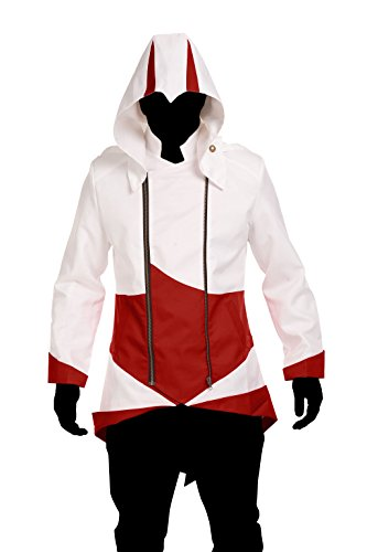 Cosplay Costume Hoodie/Jacket/Coat-9 Options for the fans,White with Red,Men XX-Large - Ezio Costume Cosplay