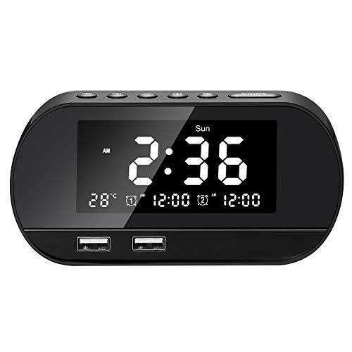 Radiowekker, FM digitale wekker met twee USB-oplaadpoorten, dual alarm, reiswekker, binnenthermometer, 6 helderheid…