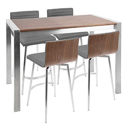Lumisource Mason Contemporary Counter Table with 4 Counter Stools, Stainless Steel/Walnut/Gray