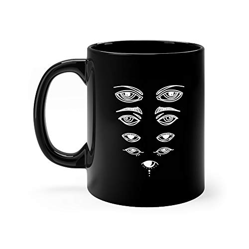 Eyes And Eye Icon Set Collection Look Vision Icons Isolated Tattoo Counting Water Mug Ceramic Cup 11 Oz
