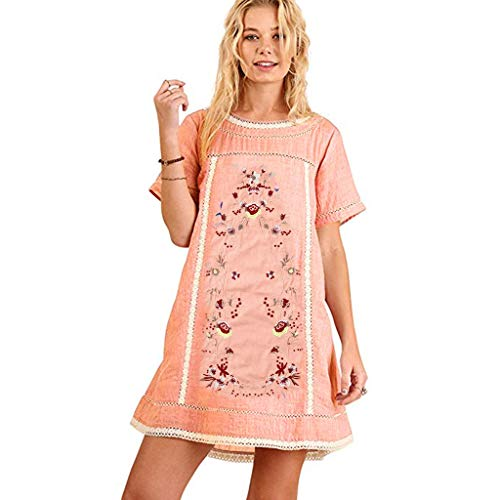 TIFENNY Cotton Linen Dresses for Women Bohemian Embroidered Mini Dress Round Neck Short Sleeve Dress or ()