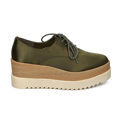 TravelNut Easter Spring Styles Sale Jetta Oxford Platform Wedge Shoe For Women (Assorted Colors) Satin Green vzeAuz2j