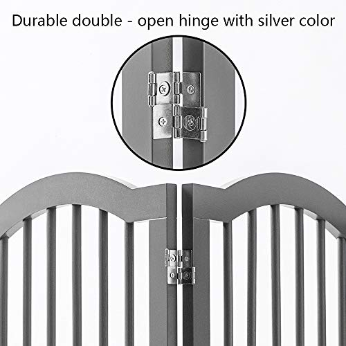 unipaws Freestanding Dog Gate w/2pcs Support Feet, Foldable Pet Gate for Stairs, Pet Gate Panels, Decorative Indoor Pet Barrier with Arched Top | Grey by unipaws (Image #5)