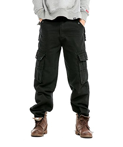 Idopy Men`s Loose Fit Motorcycle Multi-Pockets Workwear Denim Cargo Jeans Plus Size Black 36