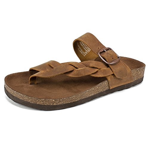 White Mountain Shoes Crawford Women's Sandal, Whiskey/Leather, 10 M