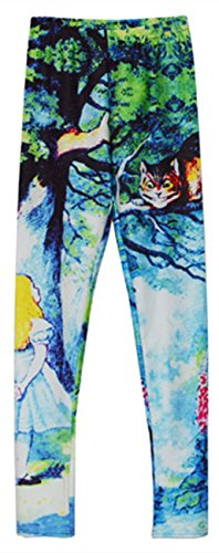 Womens Sexy Cheshire Cat Printed Leggings Alice in Wonderland Tights Pants Gifts (Alice In Wonderland Tights)