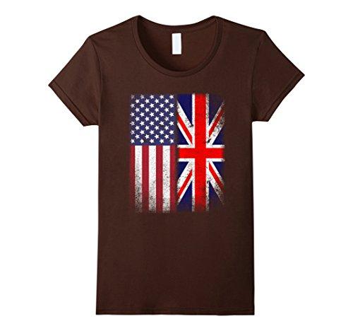 Brown Union Jack - Womens British American Flag T-shirt Great Britain Union Jack XL Brown