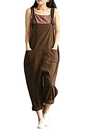 Aedvoouer Women's Casual Jumpsuits Overalls Halloween Costume Baggy Bib Pants Plus Size Wide Leg Rompers(XL,Coffee)
