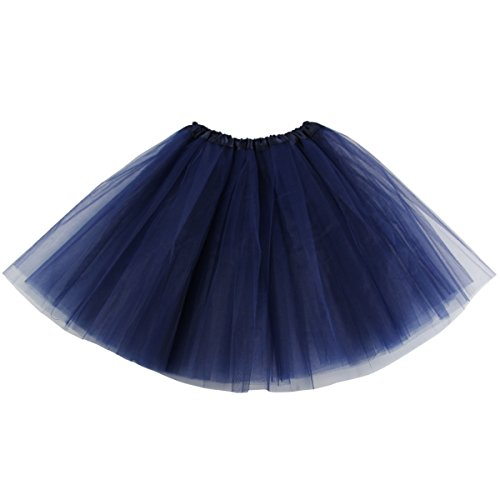 Lanzom Women's Classic Elastic 3-Layered Tulle Tutu Skirt Ballet Party Costume (Navy Blue)
