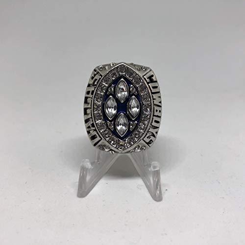 1994 Emmitt Smith Dallas Cowboys High Quality Replica Super Bowl XXVIII Ring Size 11-Silver/Blue, Colored League Logo