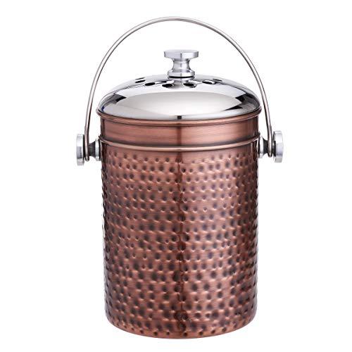 Old Dutch 1280AC Hammered Antique Copper 3 Charcoal Filters, 4 Qt. Compost Bin, 4Qt,