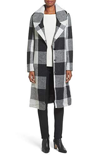kensie Women's Long Blanket Plaid Wool Coat with Notch Collar, Black/White, L ()