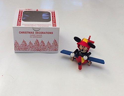 Disney Parks Steinbach Christmas Ornament Mickey in a Plane Handmade in Germany