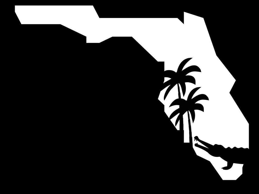 Florida State Gator and Palm Trees NOK Decal Vinyl Sticker |Cars Trucks Vans Walls Laptop|White|5.5 x 4.0 in|NOK292