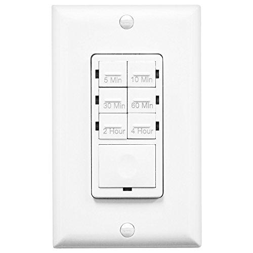 Enerlites HET06 Timer Light Switch In-Wall Countdown 5-10-30-60 mins, 2-4 (60 Min Spring)