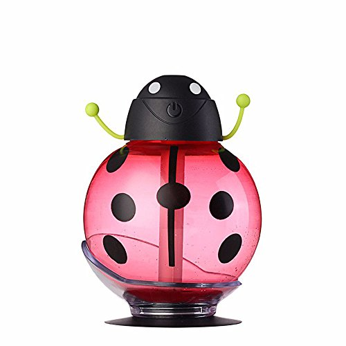 Efanr 260ML Beetle Cool Humidifier with LED Light 360 Degree Rotation Creative Ultrasonic Humidifier Skin Replenishment USB Air Freshener Purifier Mist Maker for Travel Home Office Car (Red)