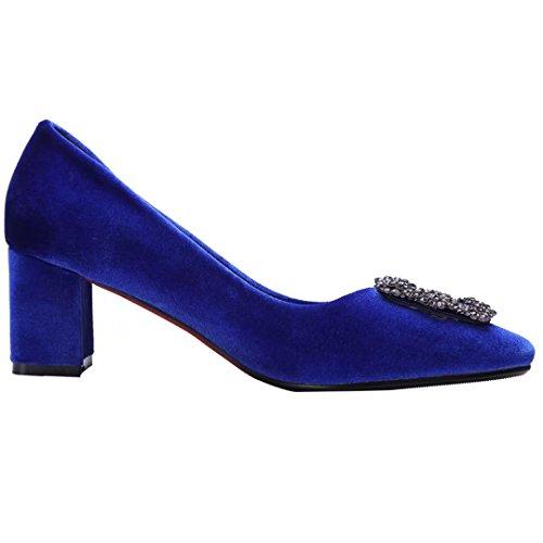 AIYOUMEI mit Absatz Damen und Bequem Heel 6cm Schuhe Peep High Pumps Blau Blockabatz Strass Toe BFBSr