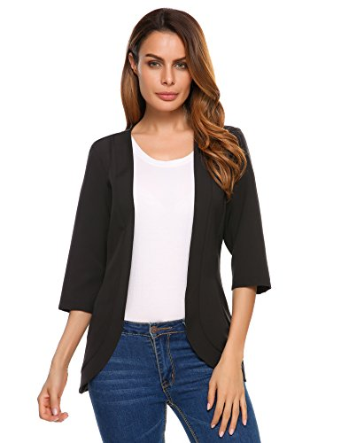 Zeagoo Women's 3/4 Sleeve Open Front Cardigan Blazer Jacket Black Large