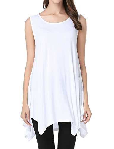 (JollieLovin Womens Plus Size Loose-fit Sleeveless T-Shirt Tank Tunic Top(1X, White))