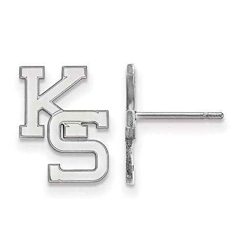 14k White Gold LogoArt Official Licensed Collegiate Kansas State University (KSU) Small Post Earrings by LogoArt