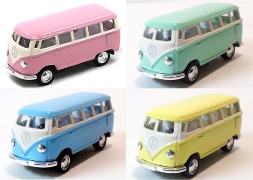 NEW 1:64 KINSMART KINSFUN DISPLAY - 1962 VOLKSWAGEN CLASSICAL BUS Diecast Model Car By KINSMART set of 4 Pieces