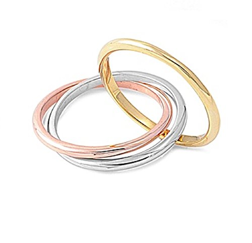 CloseoutWarehouse Sterling Silver Tri Color Rolling Connected Ring Size 9