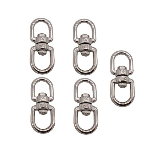 D-Worthy Pack of 5 Stainless Steel Hanging Basket Spinners Swivel Hook for Hanging Plants Pot Wind Chimes Bird Feeder (1-7/8) (Spinners Basket Hanging)