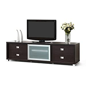 Amazon.com: Metro Shop Botticelli Brown Modern TV Stand with Frosted