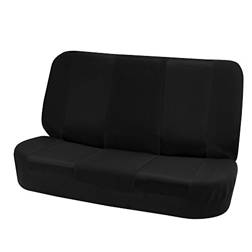 FH Group FB102010 Classic Cloth Bench Seat Covers Solid Black Color- Fit Most Car, Truck, SUV, or Van