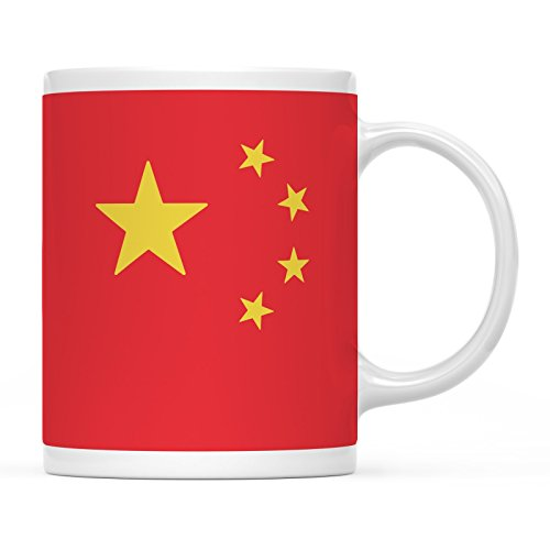 Andaz Press 11oz. Country Flag Coffee Mug Gift, China, 1-Pack, Olympics Party World Cup Soccer Fútbol Football Fan Gifts for Him or Her -