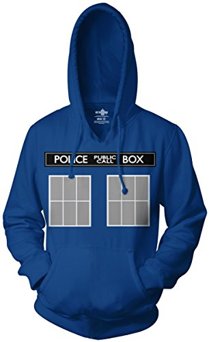 Doctor Who Tardis Call Box Hoodie Sweatshirt (XX-Large, Royal Blue)