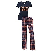 "Denver Broncos NFL ""Game Day"" Women's T-shirt & Flannel Pajama Sleep Set"