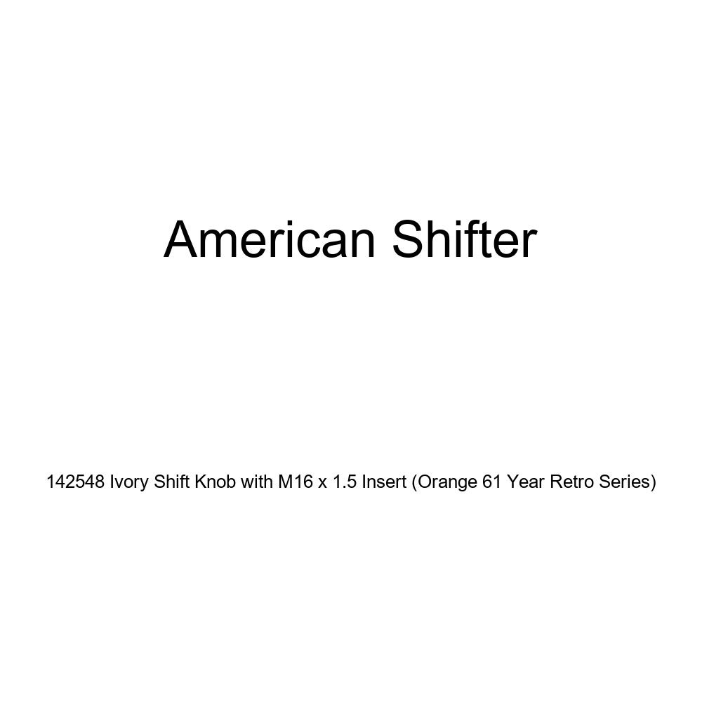 American Shifter 142548 Ivory Shift Knob with M16 x 1.5 Insert Orange 61 Year Retro Series