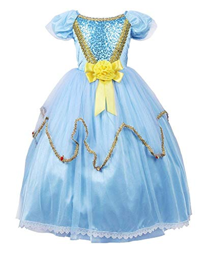MOREMOO Princess Dress Costume Cosplay Party Girl Fancy Dress(Blue 6) -