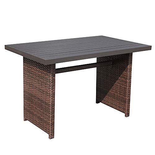 Patiorama Outdoor Patio Coffee Table, Brown Wicker Rectangular Dining Table with Aluminum Table Top, Steel Frame