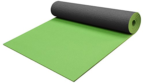 YogaAccessories 1/4' Thick High-Density Deluxe Non-Slip Exercise Pilates & Yoga Mat, Two Tone -...
