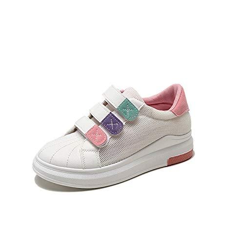 Plano Deporte PU Verano Redonda Blue Primavera Malla Tacón Zapatos Azul de Poliuretano Rosa de ZHZNVX de Mujer y Zapatillas Zapatos para Punta Caminar qITI8