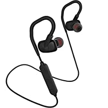 UTHMNE Bluetooth Headphones Lightweight V4.1 Wireless Sport Stereo In-Ear Noise Cancelling Sweatproof Headset 8-Hour Playing Time with Mic, Premium Bass Sound, Secure Fit for Running (Black)