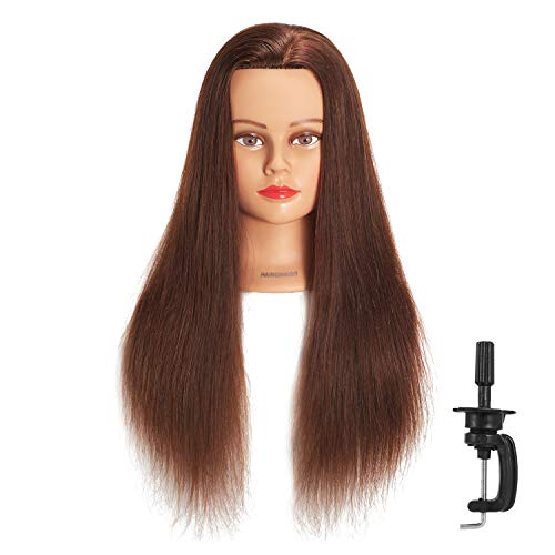 Hairginkgo Mannequin Head 24-26' 100% Human Hair Manikin Head Hairdresser Training Head Cosmetology Doll Head for Styling Dye Cutting Braiding Practice with Clamp Stand
