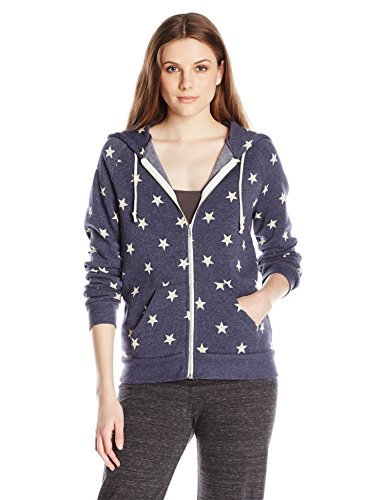 - Alternative Women's Printed Adrian Fleece Zip-Front Hoodie, Stars, Medium