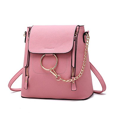 La moda femenina camisa de cuero pu Bolso Messenger,negro Blushing Pink