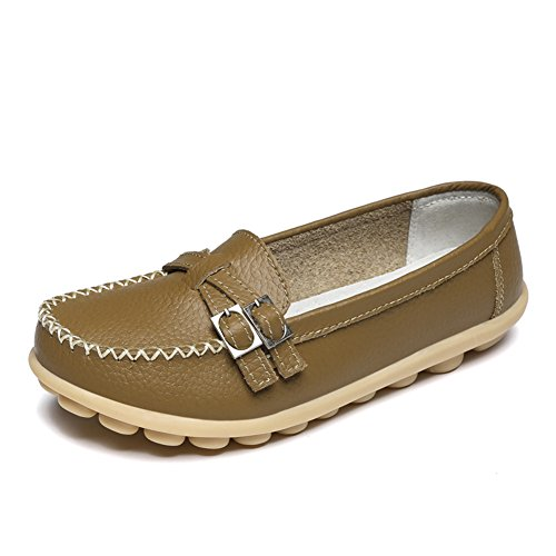 LINGTOM Women's Casual Leather Loafers Driving Moccasins Flats Shoes Khaki