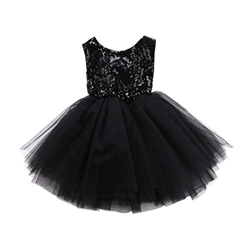 Toddler Baby Girls Birthday Wedding Party Dress Sleeveless Sequins Top Lace Tutu Skirt (Black Lace Bubble Skirt, 2-2.5 Years Old)