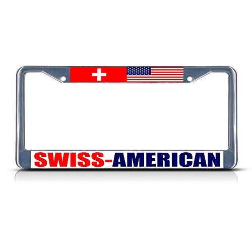 Swiss American Metal License Plate Frame Tag Border Two Holes Perfect for Men Women Car garadge Decor