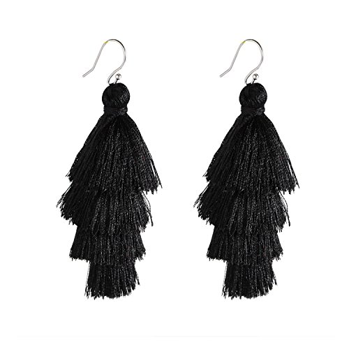 (Bonnie 4 Four Tiered Thread Statement Layered Pierces Hook Tassel Dangle Earrings (Black))