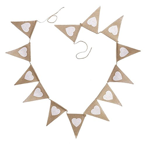 Pennant Shaped Flag - Linen Bunting 3.5M/11Feet Heart shaped Flag Banner Pennant Flag Garlands Fabric Triangle Flags Double Sided Vintage Cloth Shabby Chic Decoration for Rustic Wedding (MR MRS)