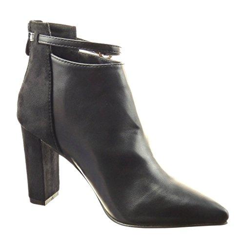 Sopily - Chaussure Mode Bottine Bi-matière Montante femmes boucle Talon haut bloc 9 CM - Noir